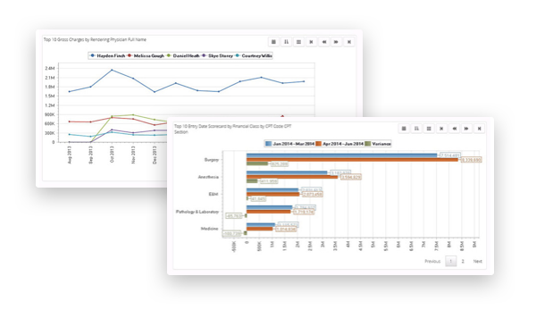 example screenshots of revele's interactive dashboards